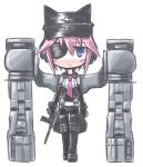 blue_eyes blush busou_shinki gun hat kugelschreiber looking_at_viewer murmeltier necktie pantyhose purple_hair short_hair simple_background solo weapon white_background