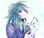 androgynous andromeda_shun flower green_eyes green_hair long_hair male saint_seiya solo
