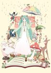 aqua_eyes aqua_hair bird bunny chamooi curtains deer dress flower food fruit hatsune_miku highres leaf long_hair mail mushroom orange piano_keys rabbit rain sheep sheet_music smile snail solo teruterubouzu twintails umbrella very_long_hair vocaloid window worms