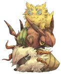antennae blue_eyes horns joltik kuuneru larvesta no_humans pokemon pokemon_(game) pokemon_bw2 shell simple_background venipede white_background yellow_eyes