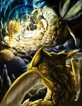 cave electricity fangs flying jolteon kabutops no_humans pokemon pokemon_(creature) raichu realistic running scyther tygarii-razil