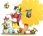 1boy 73-69 backpack bag baseball_cap black_hair child croconaw gold_(pokemon) hat holding pokemon pokemon_(creature) pokemon_(game) pokemon_gsc shorts smile sunkern vulpix