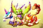 alternate_form claws commentary highres horn landorus no_humans pokemon pokemon_(game) pokemon_bw2 sa-dui signature thundurus tornadus yellow_background yellow_eyes