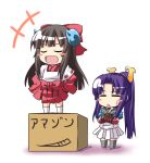 :d blush_stickers box brown_hair character_request chibi closed_eyes crossed_arms eiyuu_senki eyes_closed himiko_(eiyuu_senki) ichimi long_hair minamoto_no_yoshitsune minamoto_no_yoshitsune_(eiyuu_senki) multiple_girls musou_orochi_2 open_mouth ponytail purple_hair skirt smile standing sweatdrop