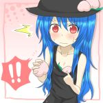 1girl blue_hair blush collarbone flat_chest food fruit hat hinanawi_tenshi leaf long_hair nobamo_pieruda peach red_eyes solo sweat sweatdrop touhou very_long_hair