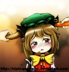 animal_ears blush brown_hair carrot cat_ears cat_tail chen crying crying_with_eyes_open earrings hands hat insertion jewelry multiple_tails mushroom short_hair solo tail tears touhou triplespearmint
