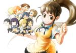 6+girls bad_id chibi english everyone highres inami_mahiru kousaku matsumoto_maya multiple_boys multiple_girls otoo_hyougo parfait punching satou_jun shirafuji_kyouko simple_background smoking souma_hiroomi takanashi_nazuna takanashi_souta taneshima_popura teardrop tears todoroki_yachiyo tray white_background working!! yamada_aoi