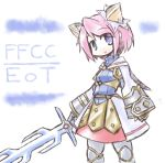 blue_eyes clavat final_fantasy final_fantasy_crystal_chronicles final_fantasy_crystal_chronicles:_echoes_of_time kugelschreiber looking_at_viewer pink_hair short_hair smile solo sword title_drop weapon
