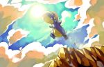bagon cliff closed_eyes cloud clouds commentary creature fangs from_below highres jumping no_humans outstretched_arms pokemon pokemon_(creature) sa-dui solo spread_arms sun