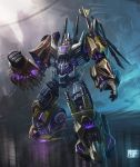 absurdres blast_off brawl bruticus cannon decepticon epic glowing glowing_eyes highres mecha no_humans onslaught realistic red_eyes robot science_fiction solo swindle_(transformers) transformers transformers:_fall_of_cybertron vortex_(transformers)