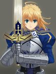 ahoge armor armored_dress blonde_hair dress excalibur fate/zero fate_(series) fighting_stance gauntlets green_eyes grey_background hair_ribbon juliet_sleeves long_sleeves puffy_shouler_long_sleeves puffy_sleeves ribbon saber seven_(11) simple_background solo sword weapon