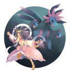 1girl :d bow brown_eyes dark_skin dragon dress fangs hagoromo holding holding_poke_ball hydreigon iris_(pokemon) long_hair long_sleeves mei_(maysroom) multiple_heads open_mouth poke_ball pokemon pokemon_(creature) pokemon_(game) pokemon_bw2 pokemon_trainer purple_hair red_eyes shawl smile star_(sky) very_long_hair whitewashed