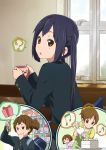 :o =_= apron bag black_hair blazer brown_eyes brown_hair cake cup errant finger_to_mouth food gift hirasawa_ui hirasawa_yui icing k-on! looking_back multiple_girls musical_note nakano_azusa pastry_bag ponytail school_bag school_uniform short_hair smile spoken_musical_note suzuki_jun thought_bubble twintails window