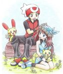 1girl bandana bandanna bare_shoulders blue_dress blue_eyes brown_eyes brown_hair chikorita85 dress flower grass head_wrath head_wreath holding holding_flower kneeling knees_together_feet_apart minun odamaki_sapphire plusle pokemon pokemon_special red_eyes ruby_(pokemon) shoes sitting traditional_media v-neck white_background wing_collar