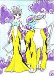 1girl brown_eyes chikorita85 cloud collarbone creature dress eye_contact looking_at_another moemon personification pokemon raikou traditional_media white_hair yellow_dress
