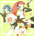 1girl blue_eyes blue_hair clothes_writing green_eyes headphones heart kojirou_(pokemon) mei_(maysroom) meowth microphone midriff musashi_(pokemon) pokemon pokemon_(anime) red_hair redhead team_rocket wink