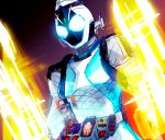 1boy belt dutch_angle glowing glowing_eyes helmet henshin kae_(mochimochi6251) kamen_rider kamen_rider_fourze kamen_rider_fourze_(series) male sketch solo transformation