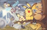 blush_stickers bush electricity emolga english finni_chang flying goggles goggles_on_head looking_at_viewer looking_down looking_up minun no_humans pachirisu pichu pikachu plusle pokemon pokemon_(creature) raichu rain scared storm thunder tree