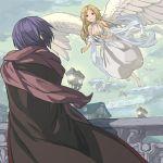 bird blonde_hair blue_hair dress ehekatl_of_luck elona god goddess lamppost robe rueken sash wings