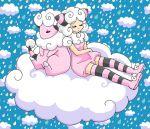 chikorita85 closed_eyes cloud clouds creature dress drop eyes_closed flaaffy moemon personification pink_dress pink_skin pokemon pokemon_ears sheep sleeping white_hair