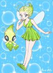 blue_background blue_eyes bubble_background celebi chikorita85 collarbone dress fairy fairy_wings flying green_dfress green_dress green_hair hand_on_own_face hands_on_own_face minidress moemon open_mouth personification pointy_hair pokemon shoes short_hair signature smile traditional_media wings