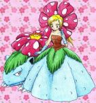 blonde_hair brown_eyes chikorita85 collarbone creature floral_background full_body long_hair looking_at_viewer looking_down moemon personification pink_background pokemon ponytail red_eyes traditional_media venusaur