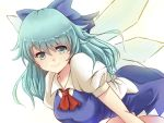 1girl adult blue_eyes blue_hair bow cirno dress hair_bow ice ice_wings long_hair looking_at_viewer simple_background smile solo touhou white_background wings x&x&x