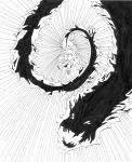 alternate_hairstyle blood blush demon dragon k-on! kotobuki_tsumugi long_hair monochrome nome_(nnoommee) open_mouth parody school_uniform skirt snake solo yuu_yuu_hakusho