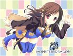 between_breasts brown_hair earring hair_ornament holding long_sleeves monster_x_dragon red_eyes thigh-highs thighhighs