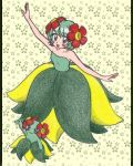 bellossom blush_stickers chikorita85 collarbone creature dancing dress floral_background floral_print green green_dress green_eyes green_hair looking_at_viewer moemon outstretched_arms personification pokemon short_hair traditional_media yellow_background