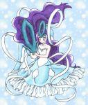 1girl big_hair blue blue_background blue_dress caress chikorita85 collar collarbone creature dress long_hair moemon personification pokemon purple_hair suicune very_long_hair