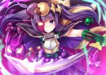 armor cape circlet highres horn japanese_clothes katana magatama mask purple_hair puzzle_&_dragons samoore solo sword twintails violet_eyes weapon yomi_(p&d)