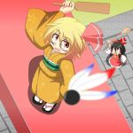 :o anger_vein arm_up ascot black_hair blonde_hair blurry bow broom cato_(monocatienus) cherry_blossoms depth_of_field detached_sleeves facepaint from_above geta hagoita hair_bow hair_ribbon hair_tubes hakurei_reimu hanetsuki japanese_clothes kimono looking_up monocatienus multiple_girls obi open_mouth paddle path red_eyes ribbon rumia shadow short_hair shouting shuttlecock standing tabi torii touhou