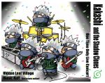 band chibi clone confetti drum drum_set drumsticks english grey_hair hatake_kakashi henohenomoheji instrument male microphone naruto piano zzzeus