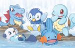 bird creature finni_chang mudkip no_humans open_mouth oshawott penguin piplup pokemon pokemon_(creature) signature smile squirtle swimming totodile water watermark web_address wink
