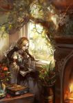 ayaka blonde_hair blue_eyes book braid chair deer dress fireplace flower gloves long_hair original quill single_braid sitting solo tree vase vines
