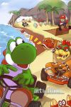 4boys :d banana_peel beach bowser car coconut crab driving food fruit hand_on_hat hkart holding kart looking_back mario mario_kart multiple_boys ocean open_mouth outdoors palm_tree peach princess_peach racing ramp shell signature smile steering_wheel toad toad_(mario) tree watermark web_address yoshi