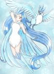 articuno blue blue_background blue_hair chikorita85 dress long_hair looking_at_viewer moemon personification pokemon red_eyes snowflakes traditional_media very_long_hair white_dress