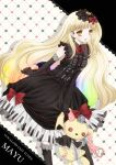 dress elbow_gloves gloves highres koyoi_(ruka) mayu_(vocaloid) piano_print vocaloid weapon