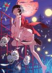 araragi_tsukihi bare_legs black_eyes black_hair feet fox_mask full_moon japanese_clothes jungle_gym kimono legs looking_at_viewer looking_back mask monogatari_(series) moon night night_sky nisemonogatari official_art red_moon shoe_dangle short_hair short_kimono sky solo watanabe_akio