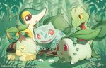 brown_eyes bulbasaur chikorita closed_eyes creature finni_chang flower grass green mouth_hold nature no_humans outdoors plant pokemon pokemon_(creature) red_eyes signature snivy treecko turtwig watermark web_address yellow_eyes