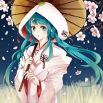 1girl flower green_eyes green_hair hair_ornament hatsune_miku highres izaro japanese_clothes kimono leaf long_hair open_mouth oriental_umbrella solo twintails uchikake umbrella vocaloid yuki_miku