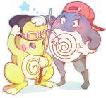 atom_(@tom) baseball_cap blush goggles goggles_on_head gold_(pokemon) hat lowres no_humans pokemon pokemon_(creature) pokemon_special politoed poliwrath red_(pokemon) shy