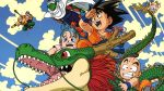 bald black_hair blue_hair bulma cape clouds dragon dragonball green_skin kame_sennin kuririn oolong piccolo shenlong sky son_gokuu tenshinhan