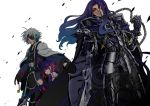 2boys armor arondight berserker_(fate/zero) blue_eyes blue_hair chain chains command_spell dress eyepatch fate/zero fate_(series) glowing glowing_eyes gradient_hair japanese_clothes kimono long_hair matou_kariya matou_sakura multicolored_hair multiple_boys pink_hair purple_hair red_eyes reno-kichi short_hair spoilers what_if white_hair