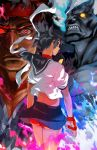 2boys alternate_eye_color ass back brown_hair buruma capcom dark_persona evil_ryuu fingerless_gloves fire gloves glowing glowing_eyes headband jc kasugano_sakura kuruoshiki_oni looking_back midriff multiple_boys muscle red_eyes school_uniform serafuku short_hair skirt standing street_fighter street_fighter_iv street_fighter_zero super_street_fighter_iv wind_lift