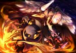 3boys angel_wings armor bat_wings buckler cape caramel_(artist) clenched_hand crystal dark_meta_knight feathers fighting_stance fire flying galacta_knight galaxia_(sword) gauntlets horns kirby_(series) lance lightning making_of male mask meta_knight multiple_boys night night_sky no_humans pauldrons polearm red_eyes rock shield sky smoke spaulders standing star_(sky) sword torn_wings weapon wings yellow_eyes