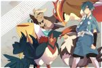 belt bird blue_eyes blue_hair gym_leader hair_over_one_eye hat hayato_(pokemon) honchkrow japanese_clothes male menoco noctowl pelipper pidgeot pokemon pokemon_(game) pokemon_hgss short_hair staraptor swellow