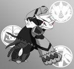 drill fang horn kamen_rider kamen_rider_ooo_(series) no_humans pokemon red_eyes redol rhydon sagohzo_(ooo_combo) slaking tail