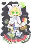 :3 absurdres animal_hood apple arm_warmers basket bitten_apple blonde_hair cane character_name dress flat_gaze food fruit green_apple green_eyes heart heart-shaped_pupils heart_eyes highres hood kouzidaren looking_at_viewer mizuhashi_parsee pointy_ears ribbon sash scarf short_hair skirt solo symbol-shaped_pupils tail thigh-highs thighhighs touhou